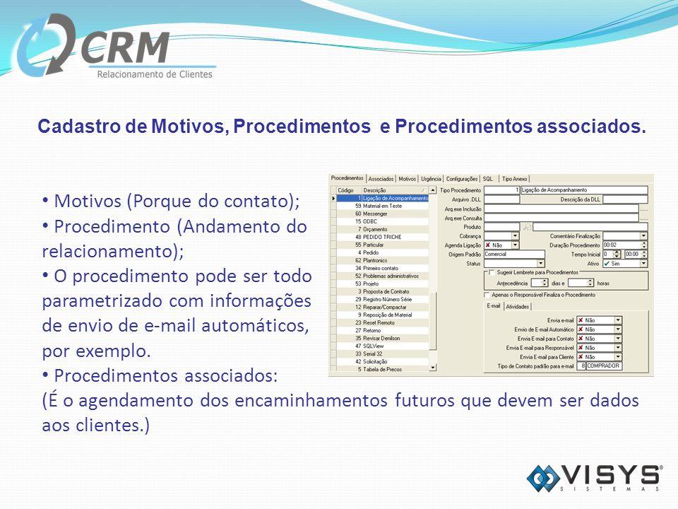 Cadastro de Motivos, Procedimentos e Procedimentos associados.