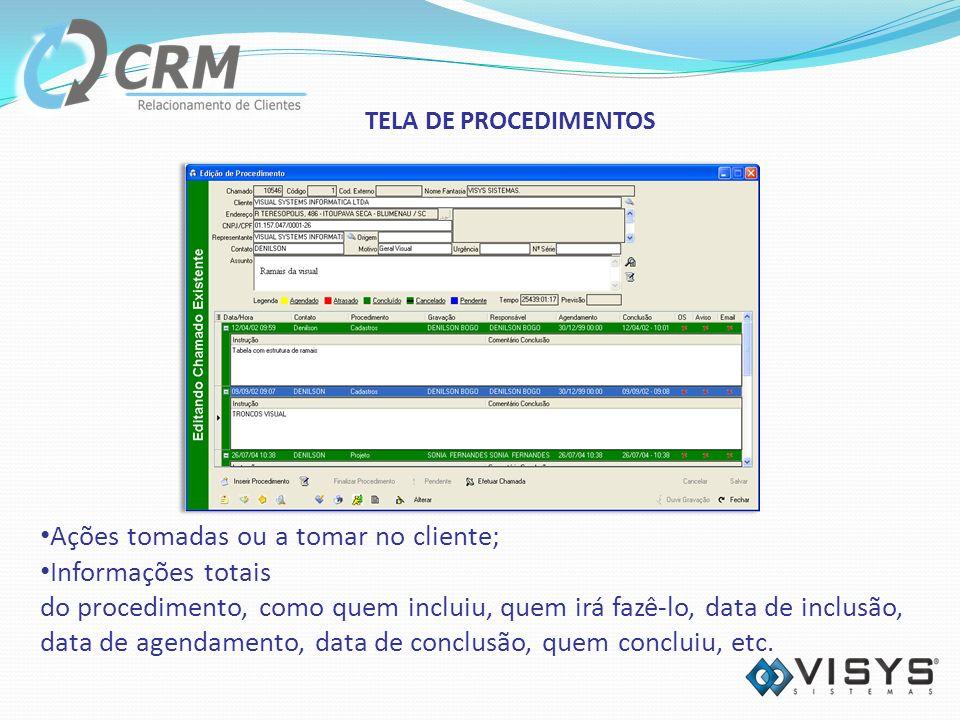 Ações tomadas ou a tomar no cliente; Informações totais do procedimento, como quem incluiu, quem irá fazê-lo, data de inclusão, data de agendamento, data de conclusão, quem concluiu, etc.