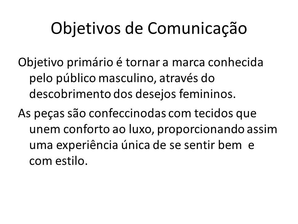 Objetivos de Comunicação Objetivo primário é tornar a marca conhecida pelo público masculino, através do descobrimento dos desejos femininos. As peças
