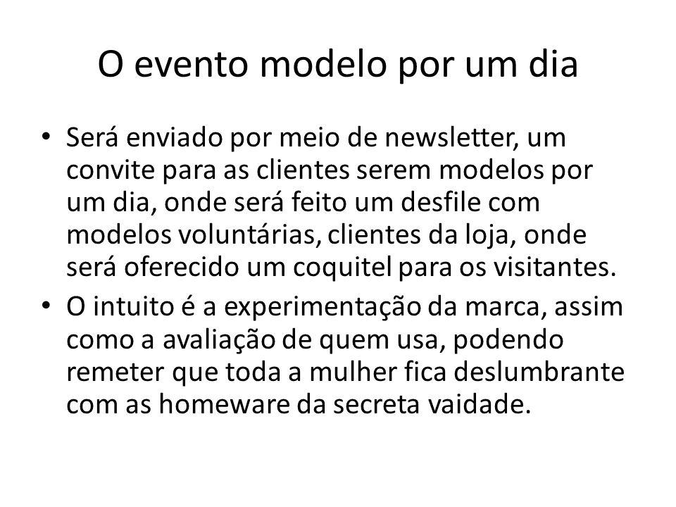O evento modelo por um dia Será enviado por meio de newsletter, um convite para as clientes serem modelos por um dia, onde será feito um desfile com m