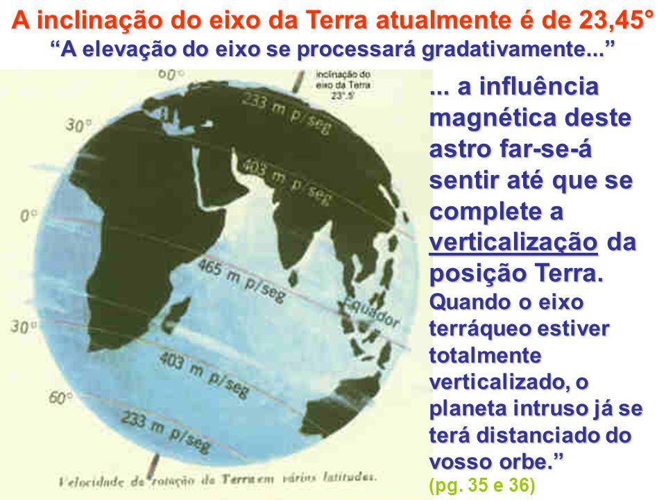 A inclinação do eixo da Terra atualmente é de 23,45° A elevação do eixo se processará gradativamente......