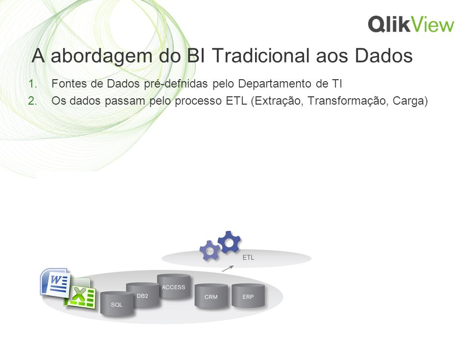 A abordagem do BI Tradicional aos Dados 1.Fontes de Dados pré-defnidas pelo Departamento de TI 2.Os dados passam pelo processo ETL (Extração, Transformação, Carga)