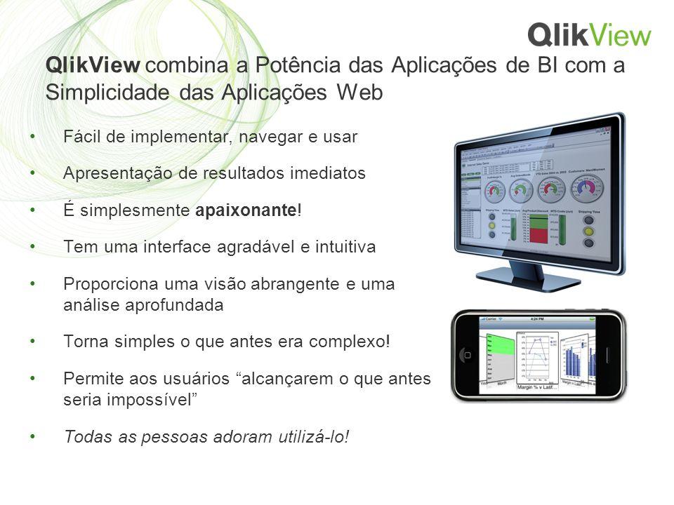 QlikView combina a Potência das Aplicações de BI com a Simplicidade das Aplicações Web Fácil de implementar, navegar e usar Apresentação de resultados imediatos É simplesmente apaixonante.