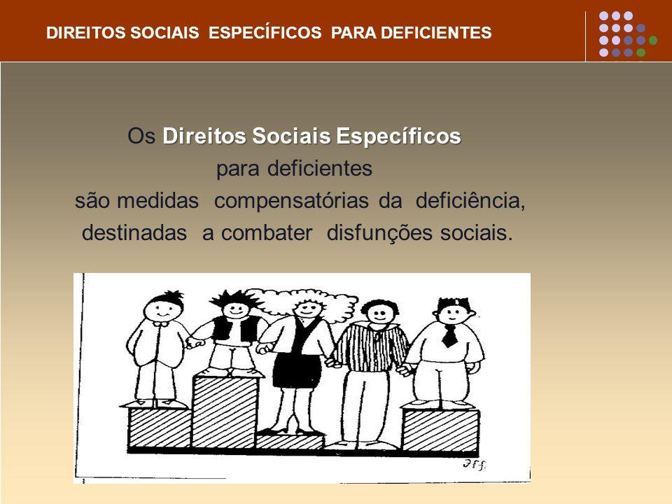 DIREITOS SOCIAIS ESPECÍFICOS PARA DEFICIENTES Direitos Sociais Específicos Os Direitos Sociais Específicos para deficientes são medidas compensatórias