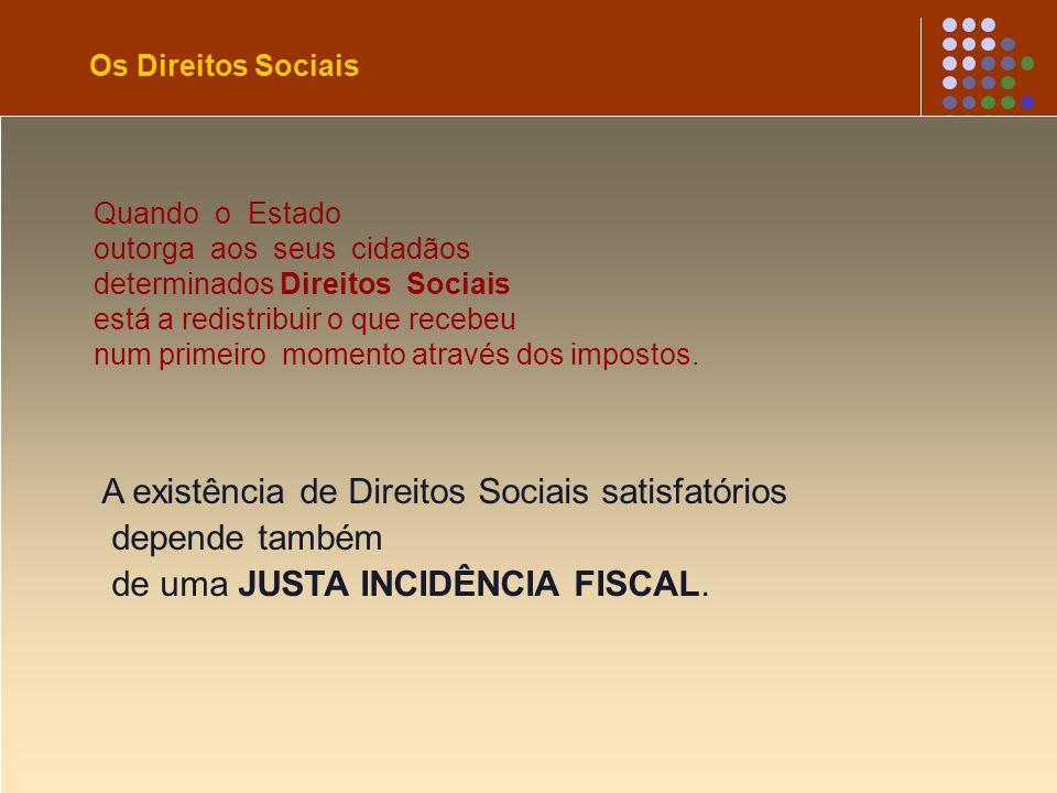 Os Direitos Sociais A existência de Direitos Sociais satisfatórios depende também de uma JUSTA INCIDÊNCIA FISCAL. Quando o Estado outorga aos seus cid