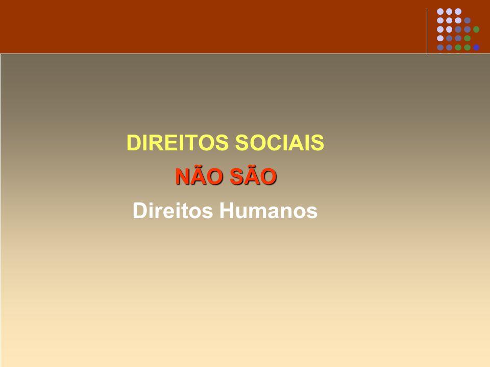 DIREITOS SOCIAIS NÃO SÃO Direitos Humanos