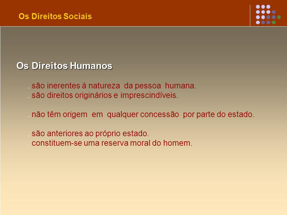 Os Direitos Humanos. são inerentes à natureza da pessoa humana.. são direitos originários e imprescindíveis.. não têm origem em qualquer concessão por
