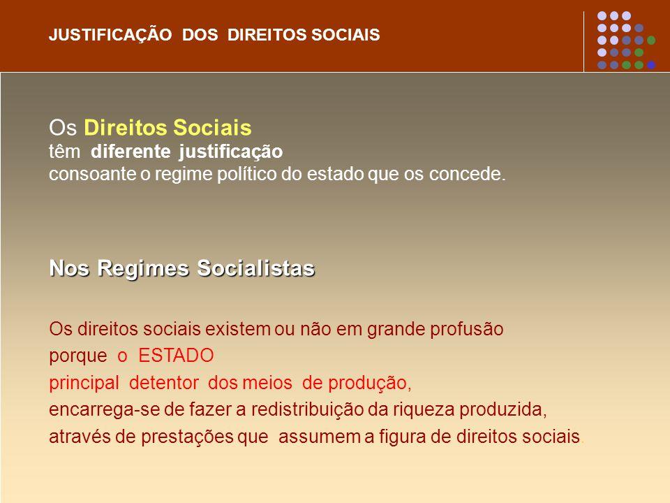 JUSTIFICAÇÃO DOS DIREITOS SOCIAIS Os Direitos Sociais têm diferente justificação consoante o regime político do estado que os concede. Nos Regimes Soc
