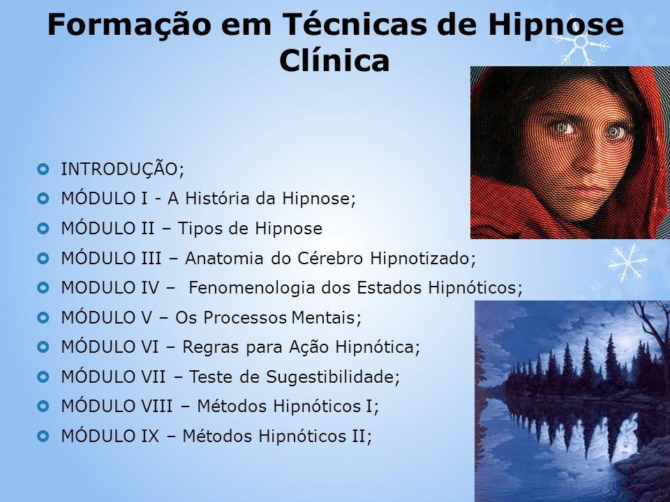 INTRODUÇÃO; MÓDULO I - A História da Hipnose; MÓDULO II – Tipos de Hipnose MÓDULO III – Anatomia do Cérebro Hipnotizado; MODULO IV – Fenomenologia dos