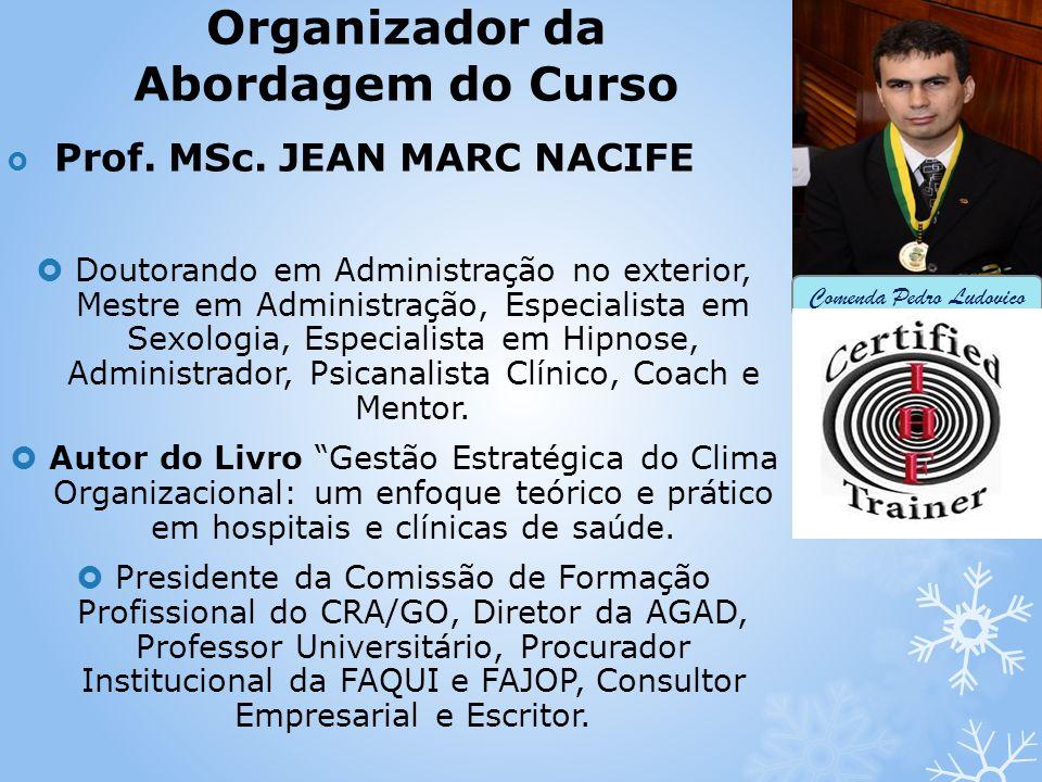 Organizador da Abordagem do Curso Prof. MSc. JEAN MARC NACIFE Doutorando em Administração no exterior, Mestre em Administração, Especialista em Sexolo