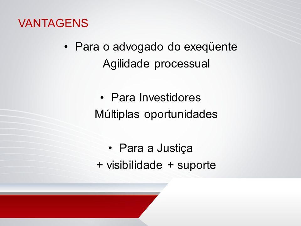 VANTAGENS Para o advogado do exeqüente Agilidade processual Para Investidores Múltiplas oportunidades Para a Justiça + visibilidade + suporte
