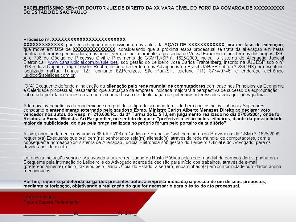 EXCELENTÍSSIMO SENHOR DOUTOR JUIZ DE DIREITO DA XX VARA CÍVEL DO FORO DA COMARCA DE XXXXXXXXXX DO ESTADO DE SÃO PAULO Processo nº. XXXXXXXXXXXXXXXXXXX