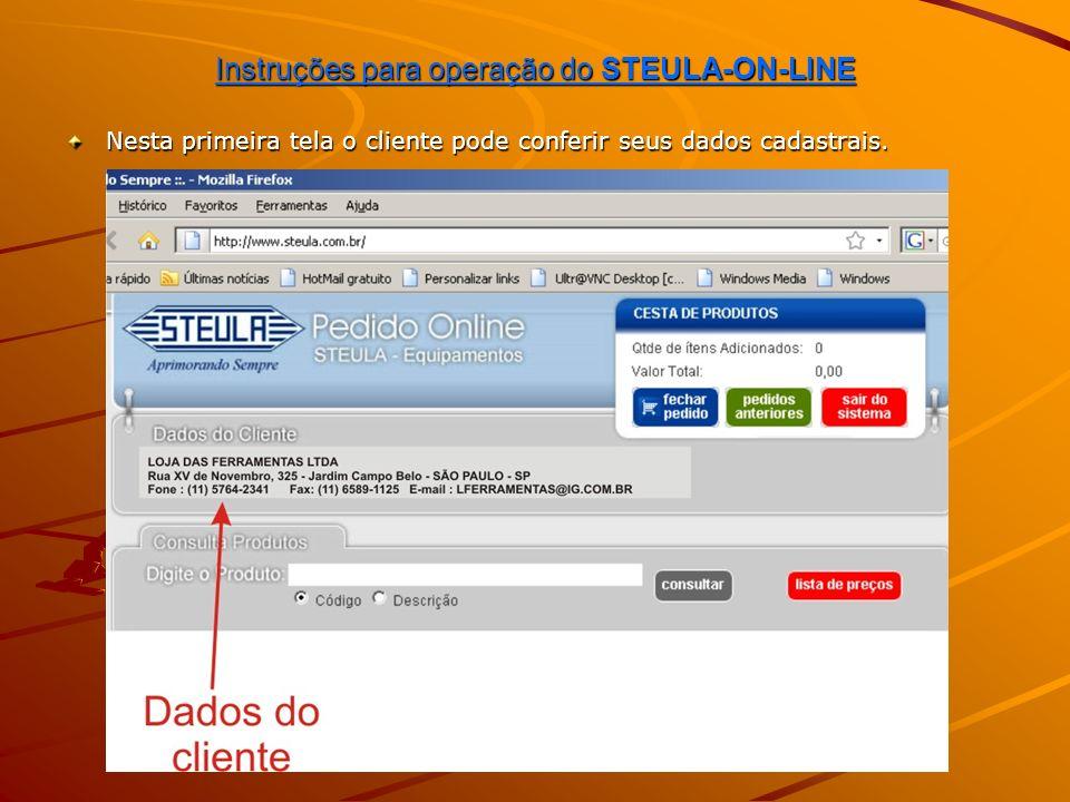 Instruções para operação do STEULA-ON-LINE Em seguida pode dar início à inclusão de itens no pedido.