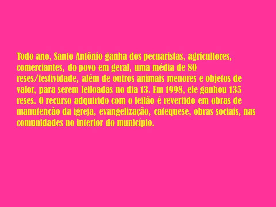 Todo ano, Santo Antônio ganha dos pecuaristas, agricultores, comerciantes, do povo em geral, uma média de 80 reses/festividade, além de outros animais