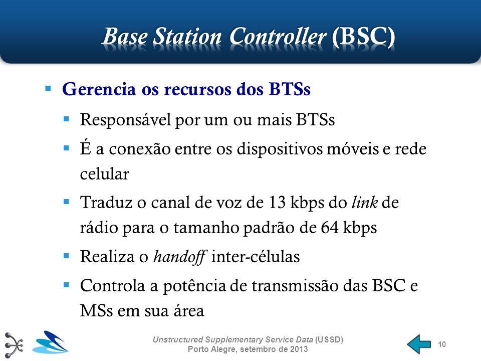 10 Gerencia os recursos dos BTSs Responsável por um ou mais BTSs É a conexão entre os dispositivos móveis e rede celular Traduz o canal de voz de 13 k