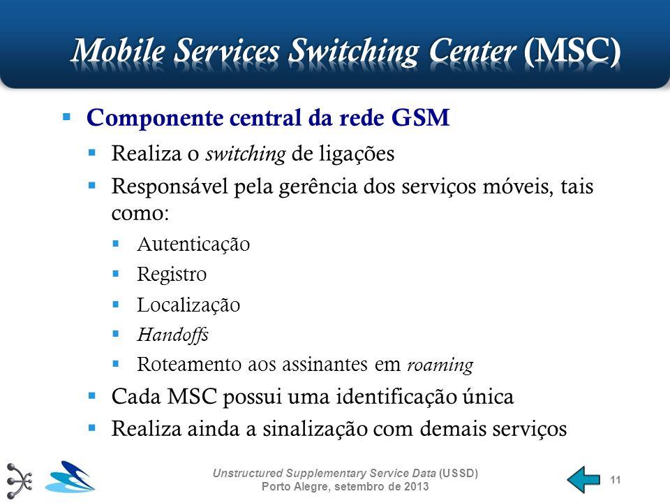 11 Componente central da rede GSM Realiza o switching de ligações Responsável pela gerência dos serviços móveis, tais como: Autenticação Registro Loca