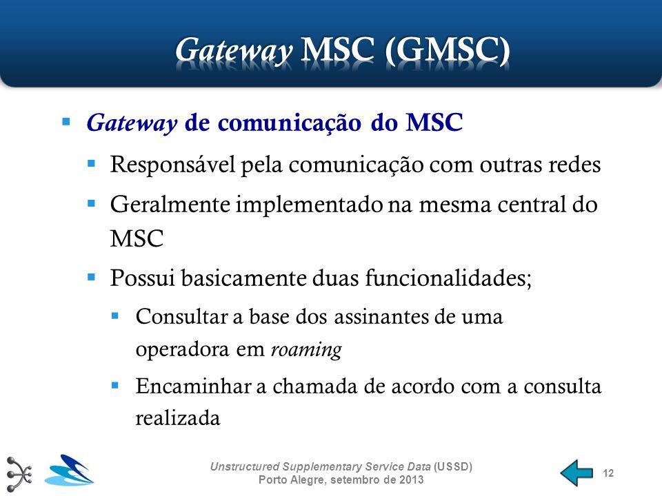12 Gateway de comunicação do MSC Responsável pela comunicação com outras redes Geralmente implementado na mesma central do MSC Possui basicamente duas