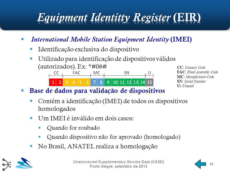 16 International Mobile Station Equipment Identity (IMEI) Identificação exclusiva do dispositivo Utilizado para identificação de dispositivos válidos