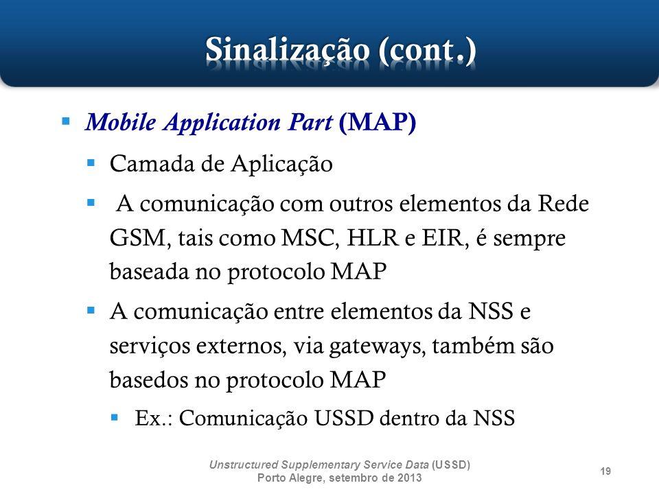 19 Mobile Application Part (MAP) Camada de Aplicação A comunicação com outros elementos da Rede GSM, tais como MSC, HLR e EIR, é sempre baseada no pro