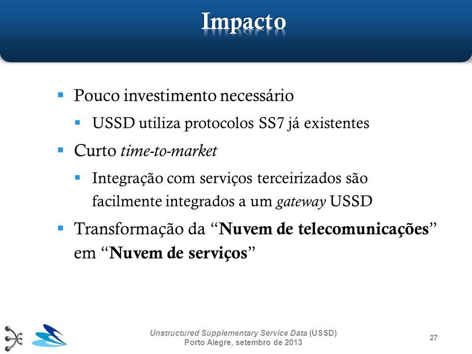 Pouco investimento necessário USSD utiliza protocolos SS7 já existentes Curto time-to-market Integração com serviços terceirizados são facilmente inte
