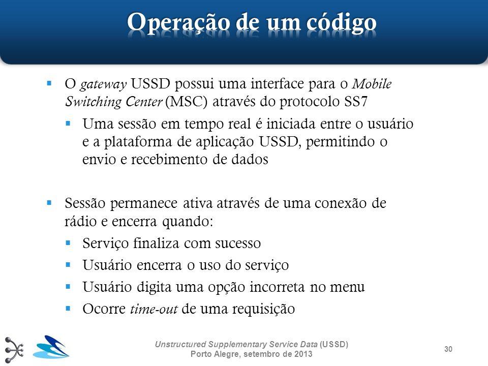 O gateway USSD possui uma interface para o Mobile Switching Center (MSC) através do protocolo SS7 Uma sessão em tempo real é iniciada entre o usuário