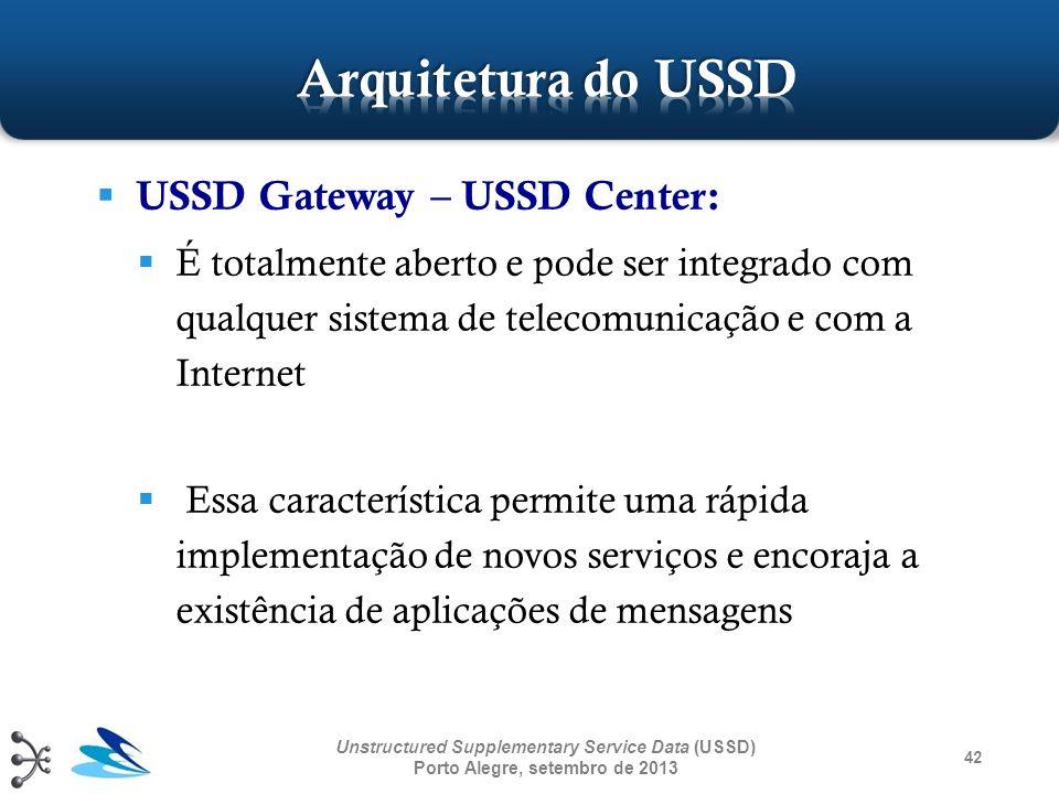 USSD Gateway – USSD Center: É totalmente aberto e pode ser integrado com qualquer sistema de telecomunicação e com a Internet Essa característica perm