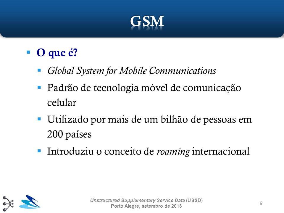 O que é? Global System for Mobile Communications Padrão de tecnologia móvel de comunicação celular Utilizado por mais de um bilhão de pessoas em 200 p