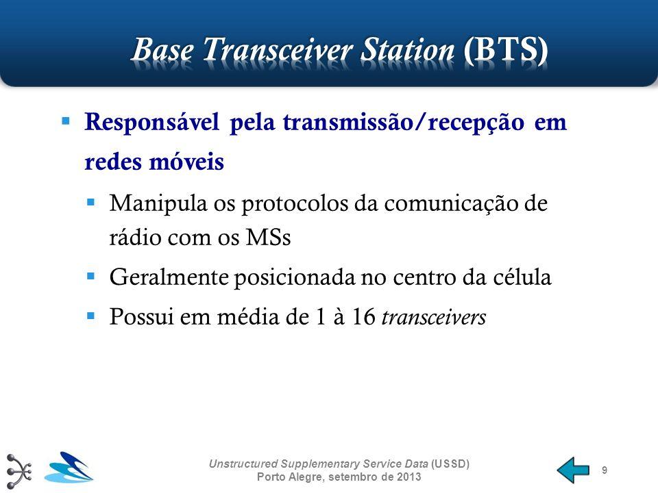 10 Gerencia os recursos dos BTSs Responsável por um ou mais BTSs É a conexão entre os dispositivos móveis e rede celular Traduz o canal de voz de 13 kbps do link de rádio para o tamanho padrão de 64 kbps Realiza o handoff inter-células Controla a potência de transmissão das BSC e MSs em sua área Unstructured Supplementary Service Data (USSD) Porto Alegre, setembro de 2013