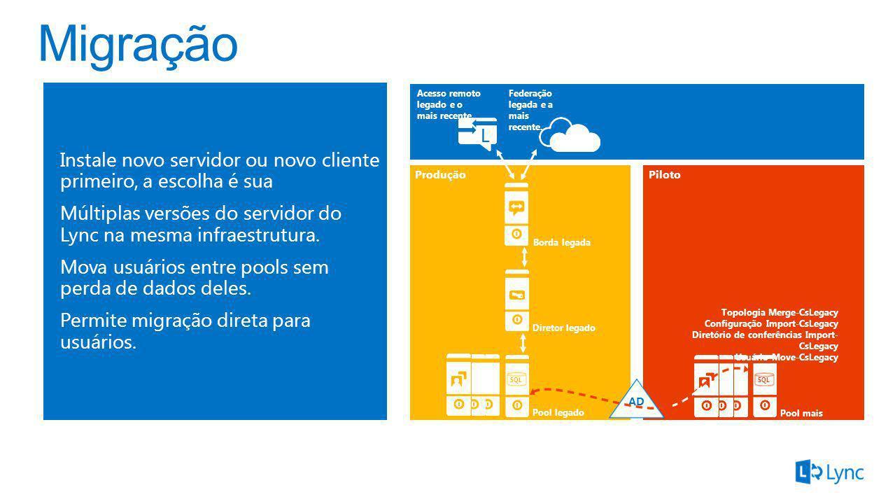 Instale novo servidor ou novo cliente primeiro, a escolha é sua Múltiplas versões do servidor do Lync na mesma infraestrutura. Mova usuários entre poo
