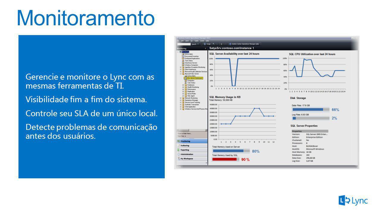Gerencie e monitore o Lync com as mesmas ferramentas de TI. Visibilidade fim a fim do sistema. Controle seu SLA de um único local. Detecte problemas d