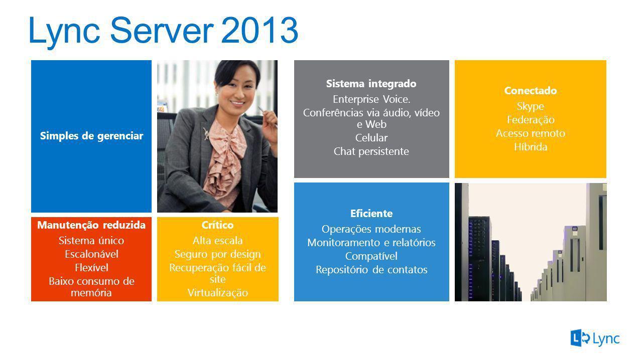 Sistema integrado Enterprise Voice. Conferências via áudio, vídeo e Web Celular Chat persistente Manutenção reduzida Sistema único Escalonável Flexíve