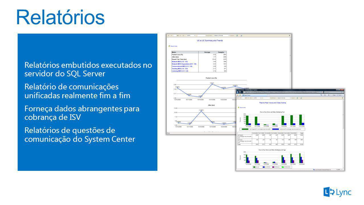 Relatórios embutidos executados no servidor do SQL Server Relatório de comunicações unificadas realmente fim a fim Forneça dados abrangentes para cobr