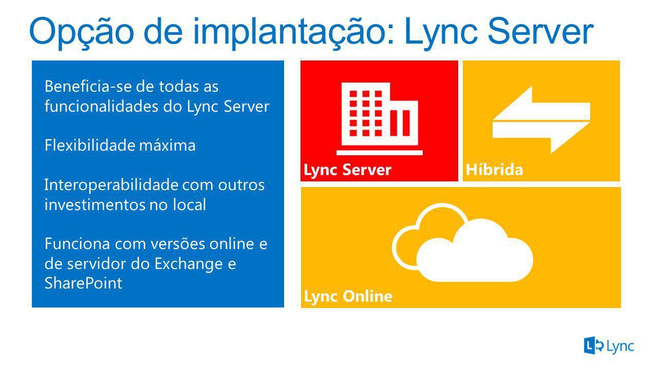 Arquitetura de domínio dividido Borda do Lync Proxy reverso AD Microsoft Federation Gateway Lync 2013 Pool do Lync 2013 Pool do Lync 2010 SQL Active Directory Sincronização de diretórios Autenticação Sincroniza ção de diretórios Serviços de federação do Active Directory SIP Usuário online do Lync SQL MI/presença, voz e vídeo Federação do Lync
