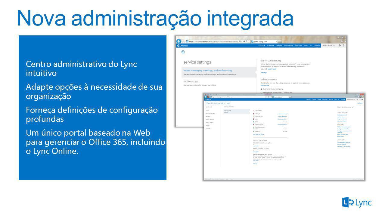 Centro administrativo do Lync intuitivo Adapte opções à necessidade de sua organização Forneça definições de configuração profundas Um único portal ba