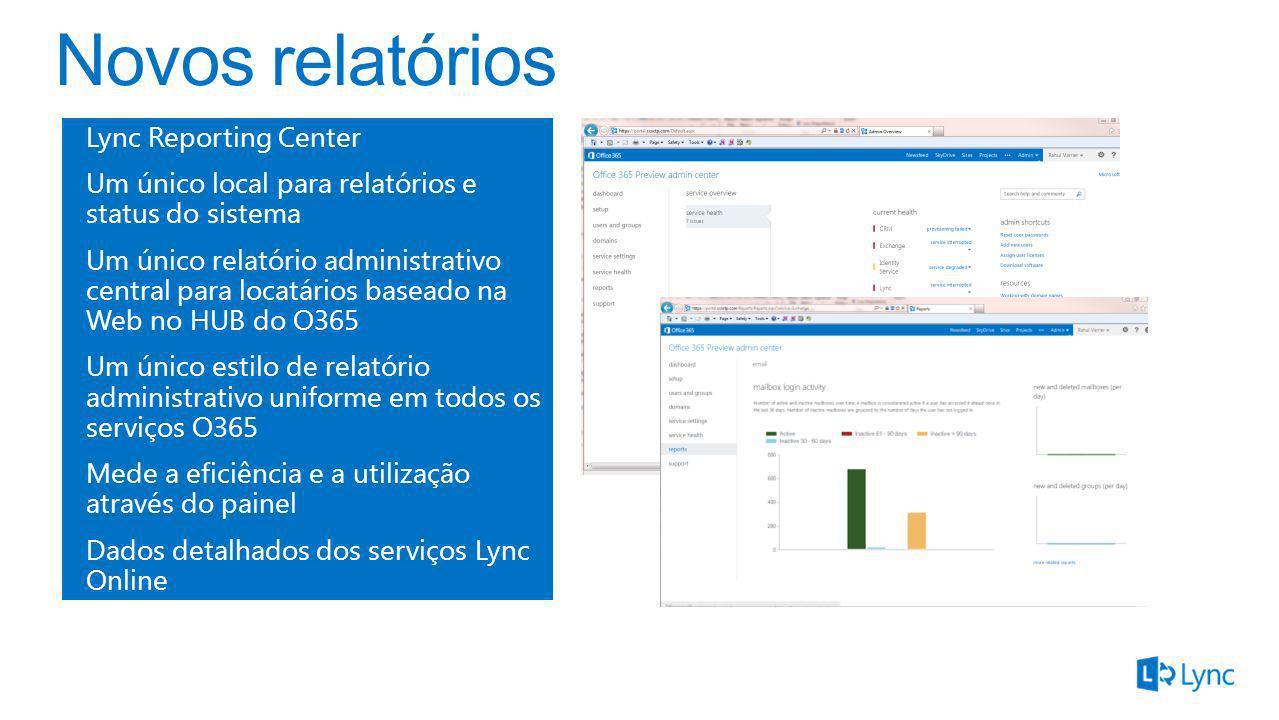 Lync Reporting Center Um único local para relatórios e status do sistema Um único relatório administrativo central para locatários baseado na Web no H