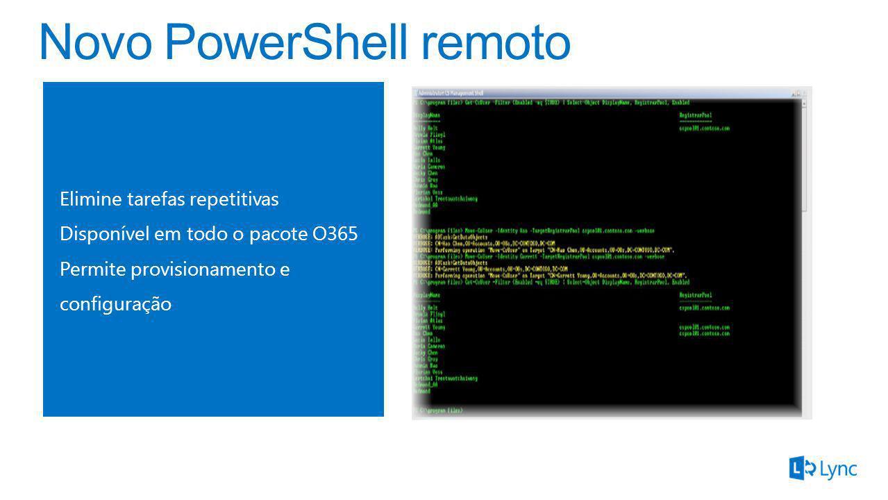 Elimine tarefas repetitivas Disponível em todo o pacote O365 Permite provisionamento e configuração