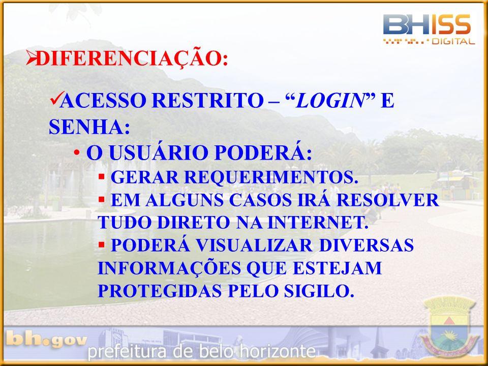 DIFERENCIAÇÃO: ACESSO RESTRITO – CERTIFICAÇÃO DIGITAL: O USUÁRIO PODERÁ: GERAR REQUERIMENTOS.