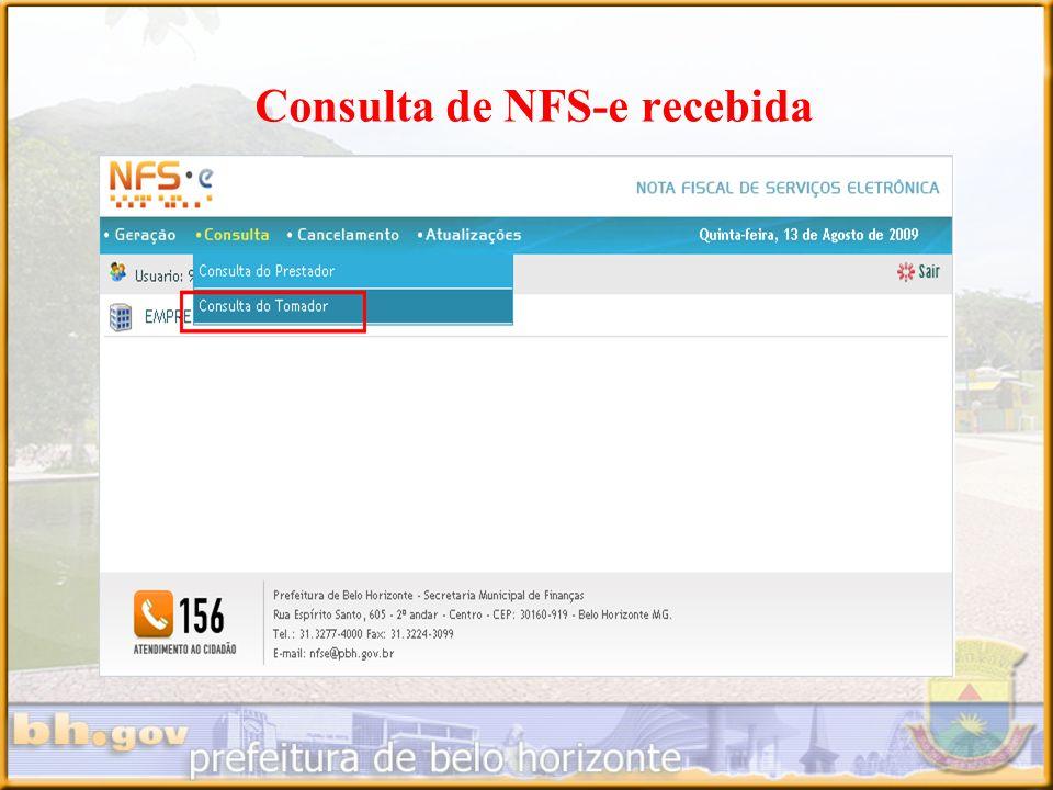 Consulta de NFS-e recebida