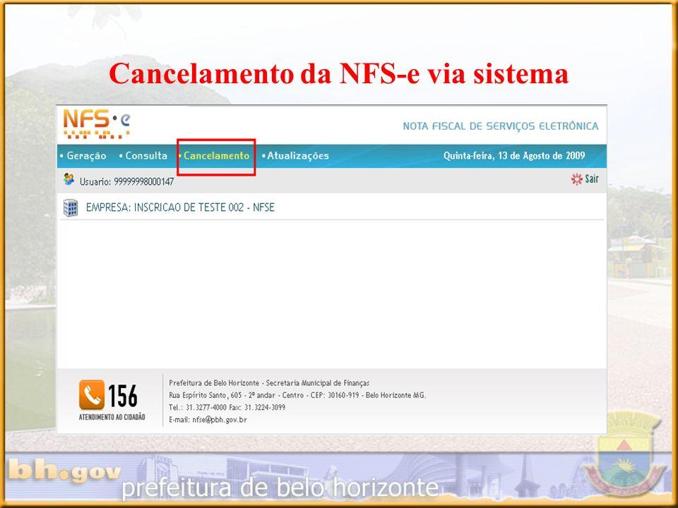 Cancelamento da NFS-e via sistema