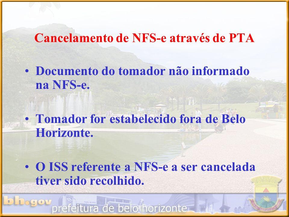 Cancelamento de NFS-e através de PTA Documento do tomador não informado na NFS-e. Tomador for estabelecido fora de Belo Horizonte. O ISS referente a N