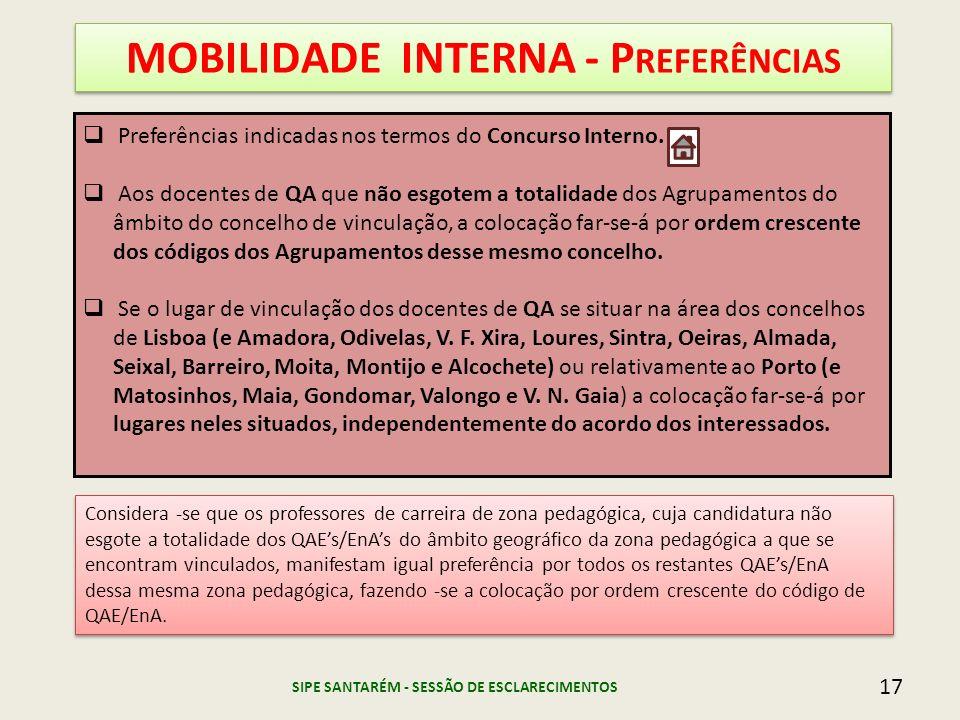 17 MOBILIDADE INTERNA - P REFERÊNCIAS Preferências indicadas nos termos do Concurso Interno. Aos docentes de QA que não esgotem a totalidade dos Agrup