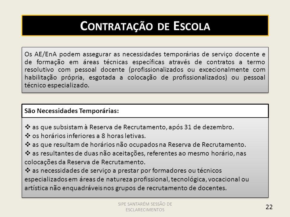22 C ONTRATAÇÃO DE E SCOLA Os AE/EnA podem assegurar as necessidades temporárias de serviço docente e de formação em áreas técnicas específicas atravé