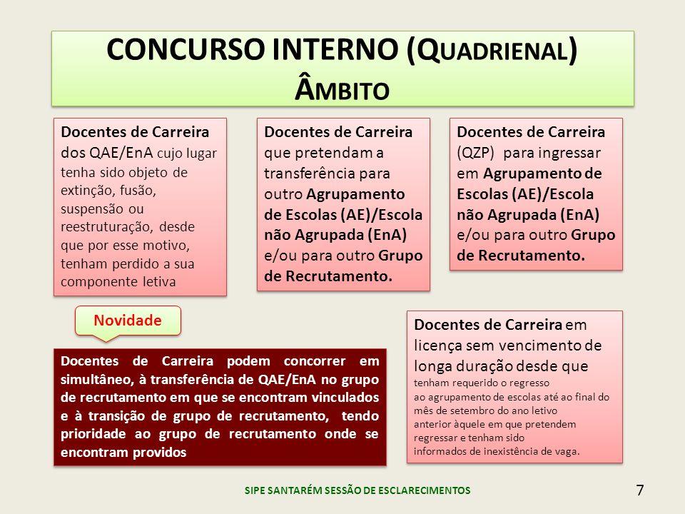CONCURSO INTERNO (Q UADRIENAL ) Â MBITO Docentes de Carreira dos QAE/EnA cujo lugar tenha sido objeto de extinção, fusão, suspensão ou reestruturação,