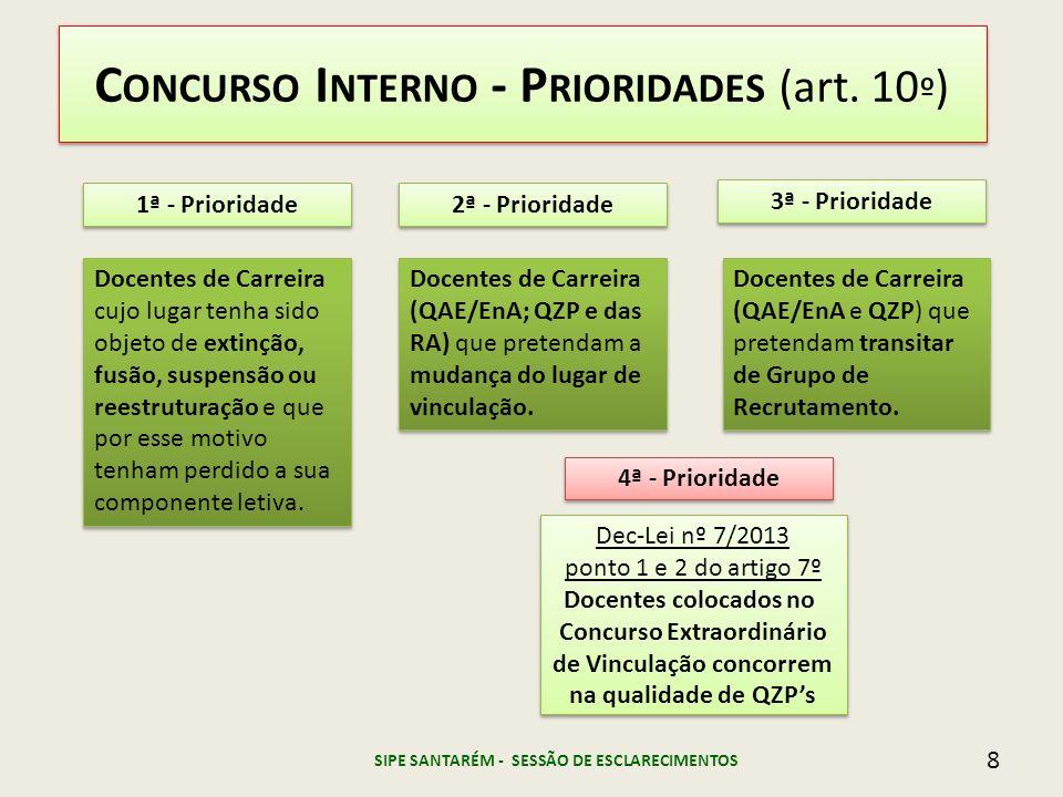 C ONCURSO I NTERNO - P RIORIDADES (art. 10 º ) 1ª - Prioridade 2ª - Prioridade 3ª - Prioridade Docentes de Carreira cujo lugar tenha sido objeto de ex