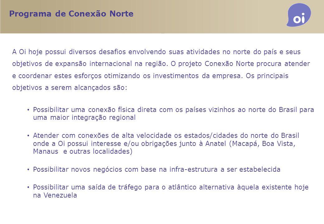 Programa de Conexão Norte A Oi hoje possui diversos desafios envolvendo suas atividades no norte do país e seus objetivos de expansão internacional na