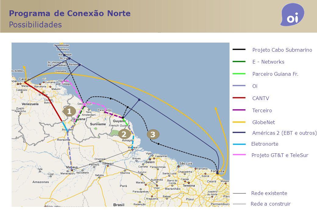 Programa de Conexão Norte Possibilidades Projeto Cabo Submarino E - Networks Parceiro Guiana Fr. Oi CANTV Terceiro GlobeNet Rede existente Rede a cons