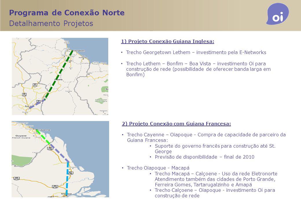 1) Projeto Conexão Guiana Inglesa: Trecho Georgetown Lethem – investimento pela E-Networks Trecho Lethem – Bonfim – Boa Vista – investimento Oi para c