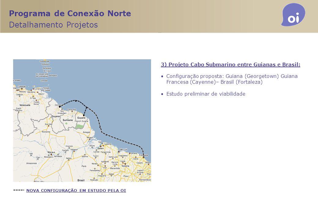 Programa de Conexão Norte Detalhamento Projetos 3) Projeto Cabo Submarino entre Guianas e Brasil: Configuração proposta: Guiana (Georgetown) Guiana Fr