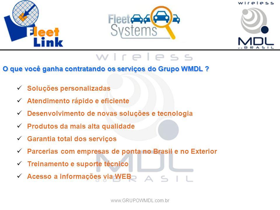 O que você ganha contratando os serviços do Grupo WMDL ? Soluções personalizadas Atendimento rápido e eficiente Desenvolvimento de novas soluções e te