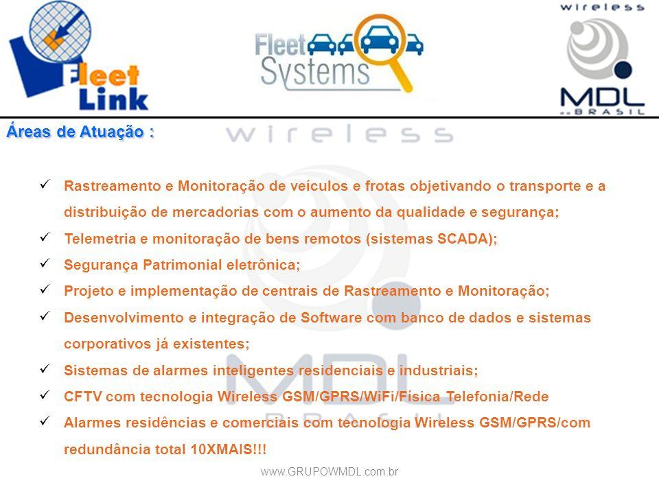 Áreas de Atuação : Rastreamento e Monitoração de veículos e frotas objetivando o transporte e a distribuição de mercadorias com o aumento da qualidade